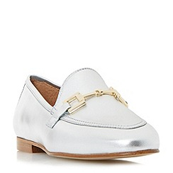 Dune - Silver 'Guru' metal saddle trim loafer shoes