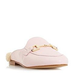 Dune - Pink 'Gole' metal saddle trim backless loafer shoes