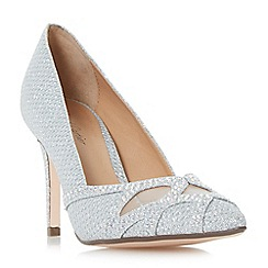 Roland Cartier - Silver 'Blanche' diamante and mesh detail court shoes