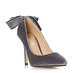 Head Over Heels by Dune - Grey 'Ashleigh' bow back pointed toe court shoes