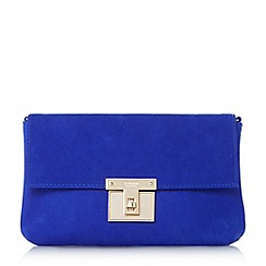 Dune - Blue 'Birchin' square lock clutch bag