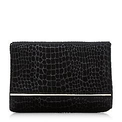 Dune - Black 'Bronco' croc textured foldover clutch bag