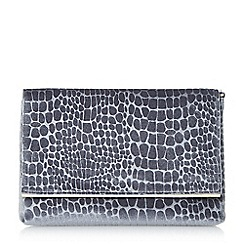 Dune - Grey 'Bronco' croc textured foldover clutch bag