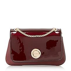 Dune - Dark red 'Elfina' double pocket circle lock shoulder bag