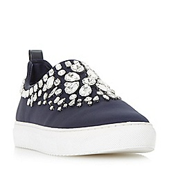 Dune - Navy 'Eliha di' jewel embellished slip on trainers