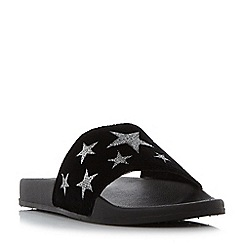 Head Over Heels by Dune - Black 'Linders' star pool sliders