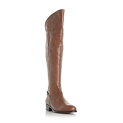 Dune - Brown 'Teigen' back stretch panel over the knee boots
