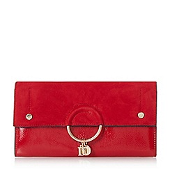 Dune - Red 'Emmett' charm detail envelope clutch bag