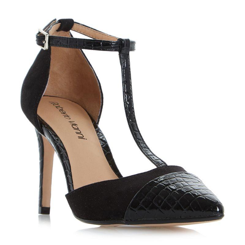 Roberto Vianni Black Cecilia point toe t-bar court shoes