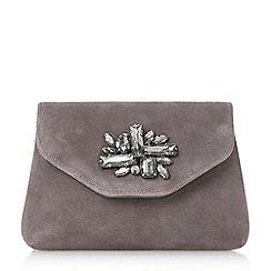 Dune - Grey 'Bandie' brooch detail clutch bag