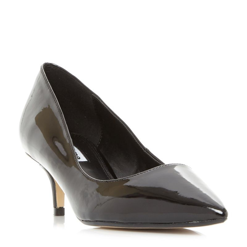 Dune Black Alesandra kitten heel point toe court shoes