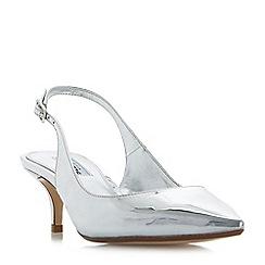 Dune - Silver 'Casandra' kitten heel slingback court shoes