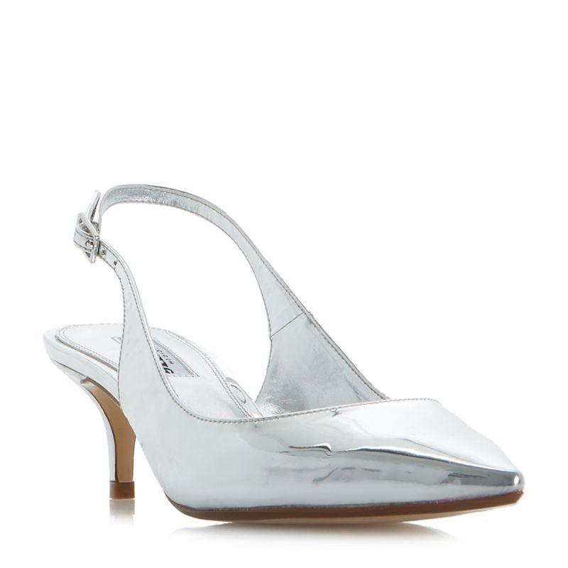 Dune Silver Casandra kitten heel slingback court shoes