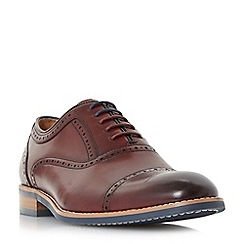 Dune - Maroon 'Paulie' toe cap punch hole oxford shoes