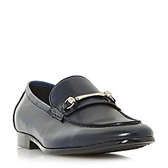 Dune - Navy 'Pinocchio' classic snaffle loafer shoes
