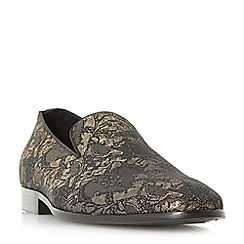 Dune - Gold 'Pizazz' brocade slipper cut loafers