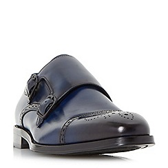 Dune - Blue 'Patriarch' double buckle toecap monk shoes