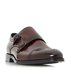 Dune - Maroon 'Patriarch' double buckle toecap monk shoes