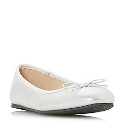Head Over Heels by Dune - Silver 'Haazel' bow trim ballet pumps