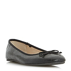 Head Over Heels by Dune - Black 'Haazel' bow trim ballet pumps