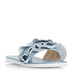 Dune - Blue 'Laria' ruffle mule sandals