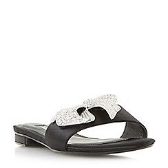 Dune - Black 'Nixi' jewelled bow mule sandals