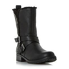 Head Over Heels by Dune - Black 'Reecey' buckle strap biker calf boots