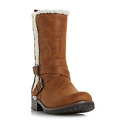 Head Over Heels by Dune - Tan 'Reecey' buckle strap biker calf boots