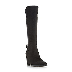 Head Over Heels by Dune - Black 'Silantro' wedge knee high boots