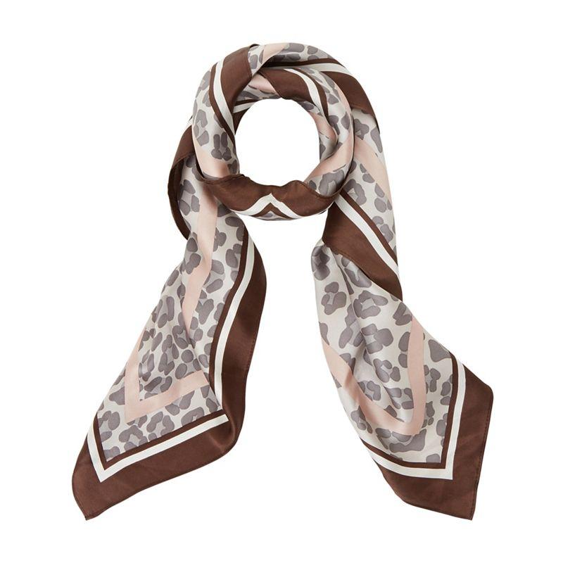 Dune - Taupe 'Livie' Leopard Silk Scarf