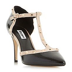 Dune - Black 'Cliopatra' studded t-bar court shoes