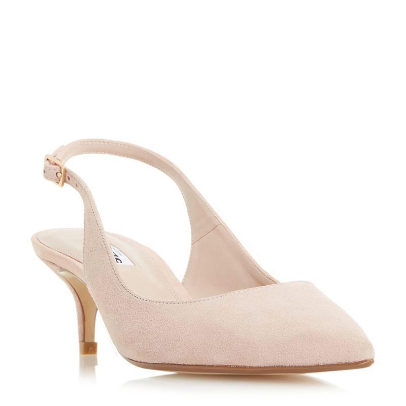Dune Beige Casandra kitten heel slingback court shoes