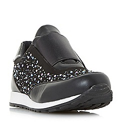 Head Over Heels by Dune - Black 'Emie' jewel embellished slip on trainers