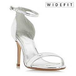 Dune - Silver 'Wf mortimer' wide fit two part ankle strap sandals