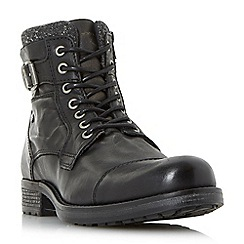 Dune - Black 'Churchill' buckled lace up casual boots