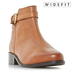 Dune - Tan 'W poppy' wide fit buckle detail side zip ankle boots