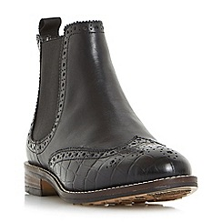 Dune - Black 'W quentons' wide fit brogue detail chelsea boots