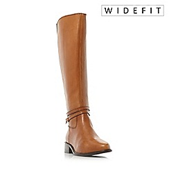 Dune - Tan 'W Taro' wide fit knee high riding boots
