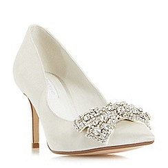 Dune - Ivory 'Beaubelle' jewelled bow pointed toe court shoes