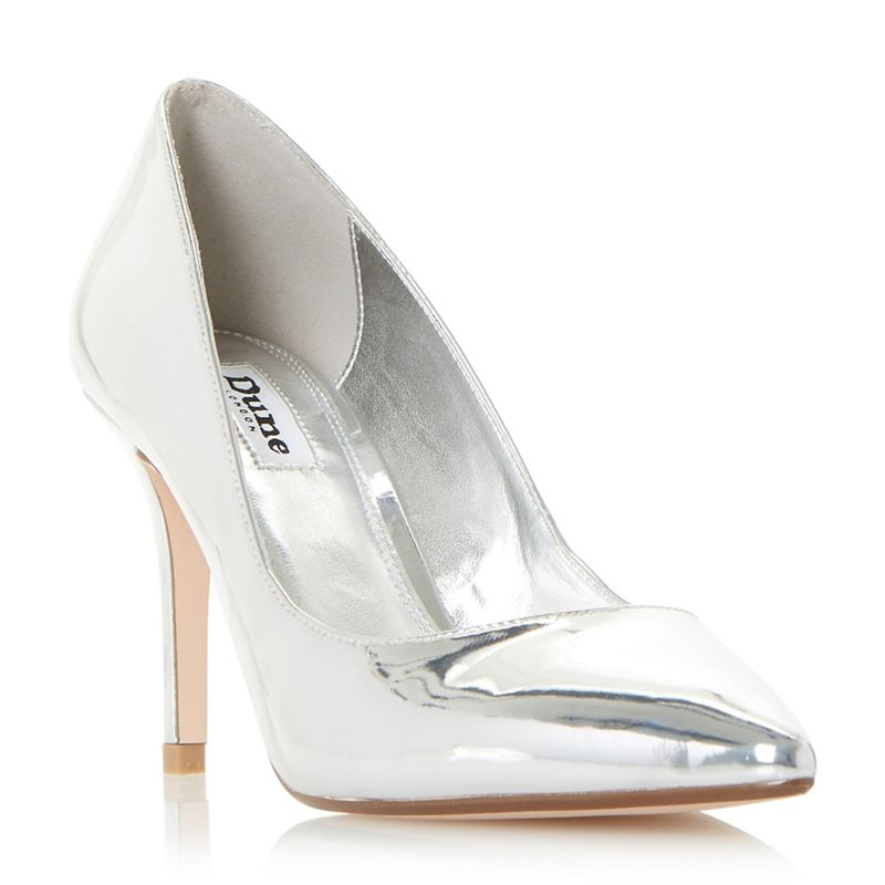 Dune - Silver Aurrora Mid Heel Court Shoes