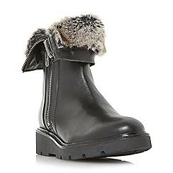 Dune - Black 'Raiden' faux fux cuff ankle boots