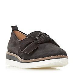 Dune - Black 'Gardinia' bow trim wedge slip on shoes