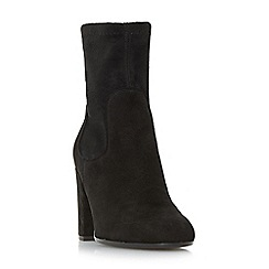 Dune - Black 'Oliah' block heel side zip ankle boots