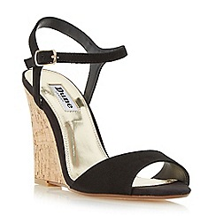 Dune - Black 'Montecarlo' cork effect wedge sandals