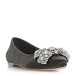 Dune - Black 'Bluebelle' flat pointed toe shoes with diamante bow trim