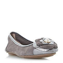 Dune - Silver 'Hyacinth' corsage ballerina shoes