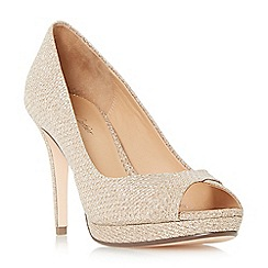 Roland Cartier - Gold 'Deco' peeptoe platform court shoes