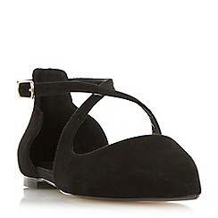 Dune - Black 'Camiler' two part cross strap flat shoes