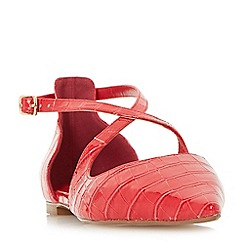 Dune - Red 'Camiler' two part cross strap flat shoes