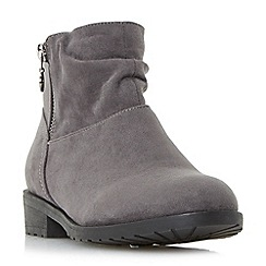 Head Over Heels by Dune - Grey 'Perci' side zip ruched flat ankle boots